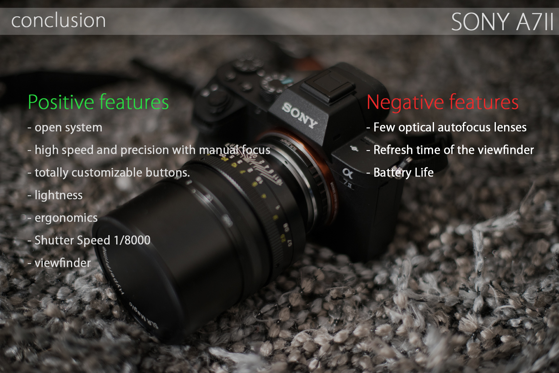 conclusion : Positive features: - open system - high speed and precision with manual focus - totally customizable buttons. - lightness - ergonomics - Shutter Speed 1/8000 - viewfinder Negative features - Few optical autofocus lenses - Refresh time of the viewfinder - Battery Life